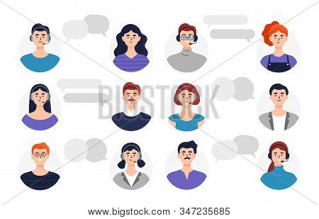 Set Of Operators And Clients Avatars. Beautiful Men And Women Heads In Or Without Headphones And Wit