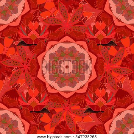 Vector Illustration. Seamless Pattern With Floral Ornament. Flowers On Red, Pink And Orange Colors.