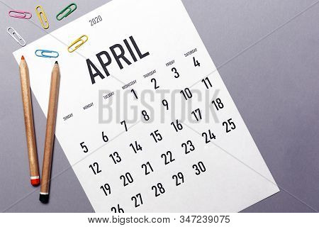 April 2020 2020 Simple Calendar With Office Supplies And Copy Space