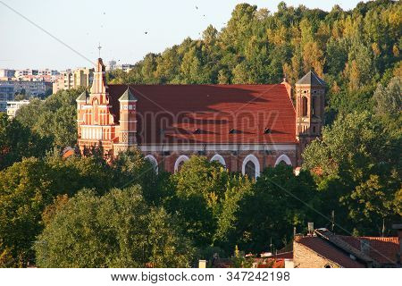 Old And New Vilnius, Lithuania,  Perspective With Bernardine Church In The Evening Light