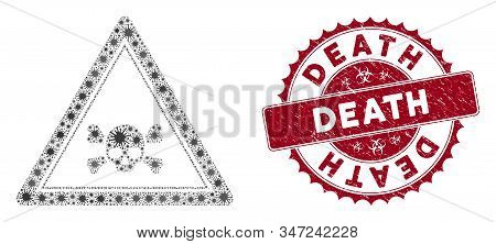 Coronavirus Mosaic Skull Death Triangle Icon And Rounded Rubber Stamp Seal With Death Caption. Mosai