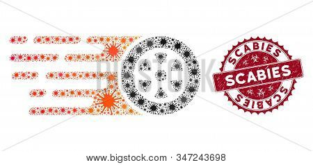 Coronavirus Mosaic Rush Car Wheel Icon And Rounded Rubber Stamp Seal With Scabies Text. Mosaic Vecto