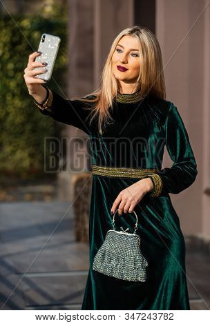 Seducing You. Glamour Velvet Textile. Sexy Businesswoman Make Selfie On Phone. Modern Life. Girl Car