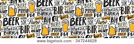 Beer Text Pattern. Word Beer In Different Languages. Italian Birra, Spanish Cerveza, Macedonian Pivo