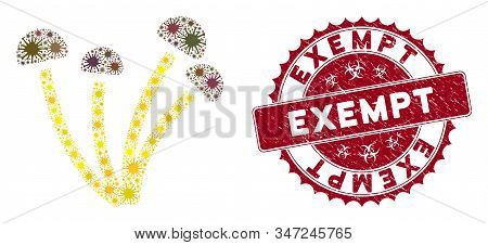 Coronavirus Collage Mushrooms Icon And Round Distressed Stamp Watermark With Exempt Phrase. Mosaic V