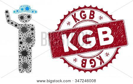 Coronavirus Mosaic Gentleman Hitchhike Icon And Rounded Rubber Stamp Seal With Kgb Caption. Mosaic V