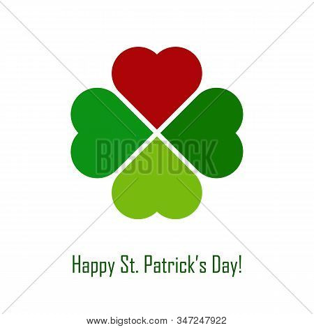 Vector Green Shamrock With Red Heart On White Background