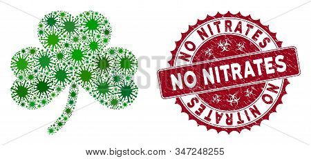 Coronavirus Mosaic Clover Leaf Icon And Rounded Rubber Stamp Seal With No Nitrates Text. Mosaic Vect