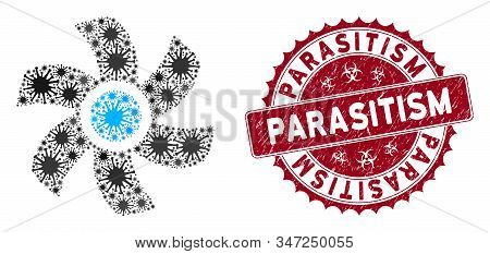 Coronavirus Mosaic Rotor Icon And Rounded Distressed Stamp Seal With Parasitism Caption. Mosaic Vect
