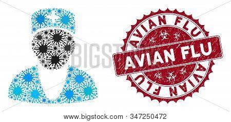 Coronavirus Mosaic Doctor Icon And Rounded Grunge Stamp Watermark With Avian Flu Phrase. Mosaic Vect