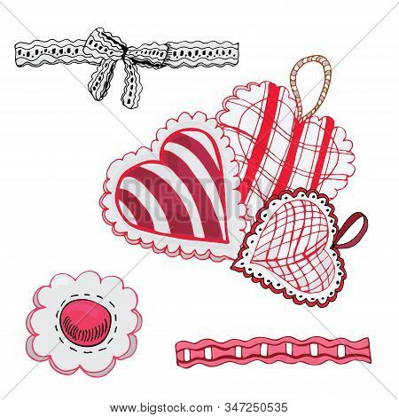 Composition With Hand Drawn Sketch Of  Sewing Hearts And Decorative Tapes. Color Elements Isolated O