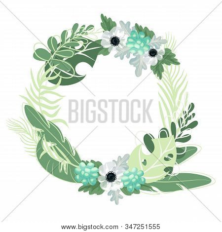 Palm Exotic Leaves Circle Isolated. Floral Botanical Flower Anemone Card Vector Illustration. Vector