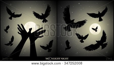 Set Of Vector Illustration With Silhouettes Of Hand Gesture And Flock Of Pigeons On Moonlit Night. B