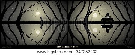 Set Of Vector Illustration With Silhouette Of Loving Couple On Moonlit Night. Lovers Among Trees. Re