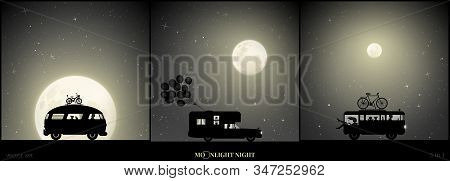 Set Of Vector Illustration With Silhouettes Of People In Camper On Moonlit Night. Parents With Child