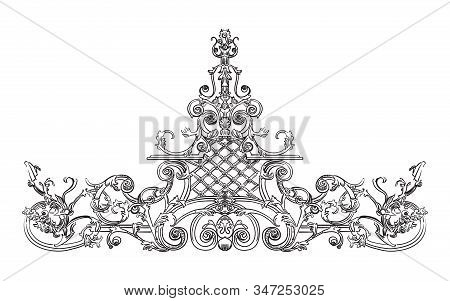 Ancient Carving Street Iron Relief With Barocco Elements, Decorative Element On Gates Vector Hand Dr