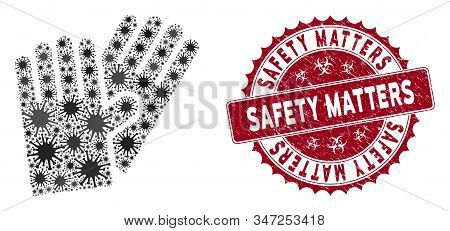 Coronavirus Mosaic Rubber Gloves Icon And Rounded Corroded Stamp Seal With Safety Matters Caption. M
