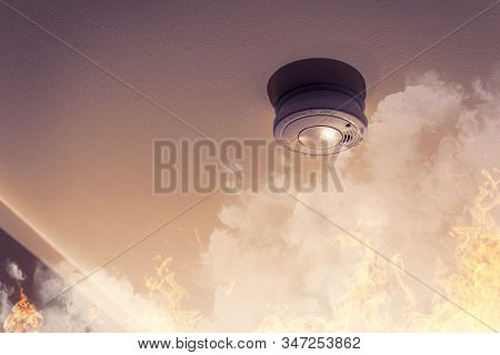 Home Safety - Smoke Detector On Ceiling Detecting House Fire