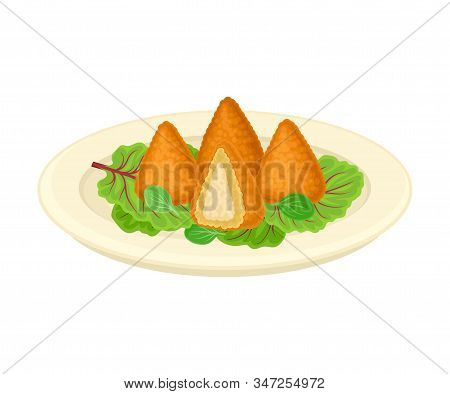 Deep Fried Brazilian Coxinha Served On Plate With Greenery Vector Illustration