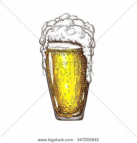 Hand Drawn Tall Beer Glass Full Of Wheat Beer With Foam. Beautiful Vintage Beer Mug Or Pilsner With