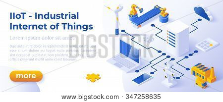 Industrial Internet Of Things Iiot - Isometric Design In Trendy Colors Isometrical Icons Of Various