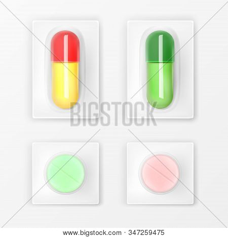 Pills Blister Pack Set, Colorful Medicine Tablets And Capsules Mock Up Isolated On White Background.