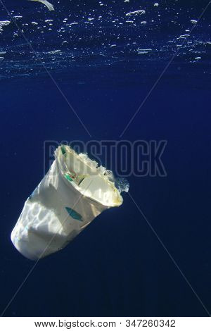 Plastic cup drifting in ocean. Underwater plastic pollution