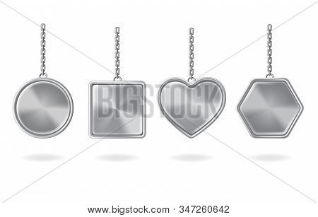 Keychains Set. Metal Round, Square, Heart And Hexagon Shaped Keyring Holders Isolated On White Backg