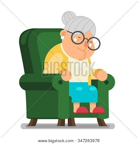 Tired Sleeping Granny Sit Nap In Armchair Character Cartoon Flat Design Vector Illustration