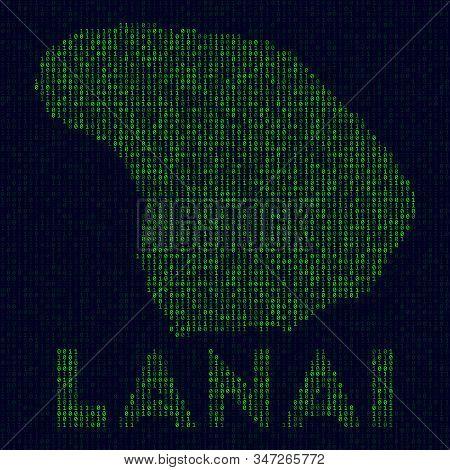 Digital Lanai Logo. Island Symbol In Hacker Style. Binary Code Map Of Lanai With Island Name. Superb