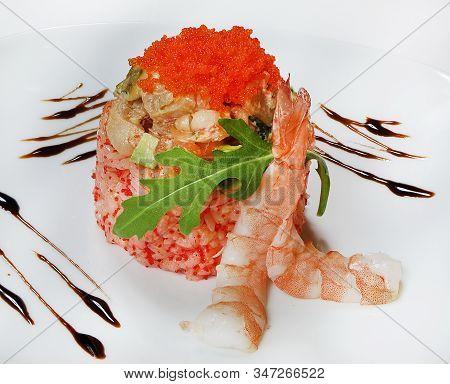 California Salad (mix Of Cocktail Shrimp, Salmon, Avocado On A Pillow Of Rice With Tobiko, Tiger Shr