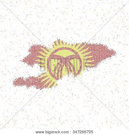 Map Of Kyrgyzstan. Mosaic Style Map With Flag Of Kyrgyzstan. Vector Illustration.