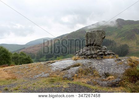 View Of Bruces Stone, Glentrool, Galloway Forest Park. This Massive Granite Boulder Commemorates Rob