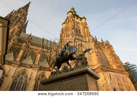 Exterior Of St. Vitus Cathedral At Prague Castle.