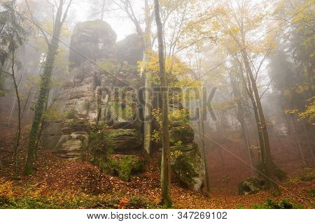 Hruba Skala In Bohemian Paradise In Autumn Fog