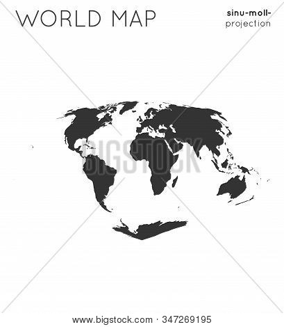 World Map. Globe In Sinu-mollweide Projection, Plain Style. Modern Vector Illustration.