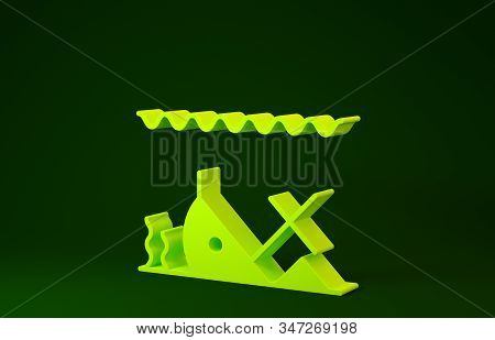 Yellow Sunken Ship At The Bottom Of The Sea Icon Isolated On Green Background. Minimalism Concept. 3