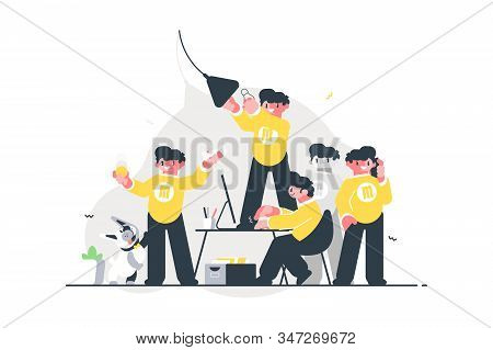 Male Doing Many Things Simultaneously Vector Illustration