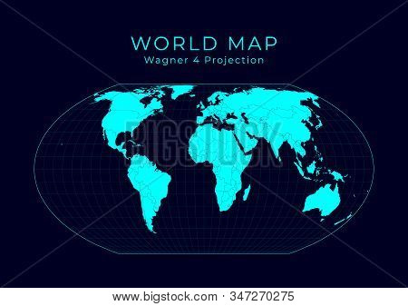 Map Of The World. Wagner Iv Projection. Futuristic Infographic World Illustration. Bright Cyan Color