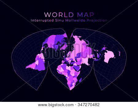 World Map. Alan K. Philbrick's Interrupted Sinu-mollweide Projection. Digital World Illustration. Br