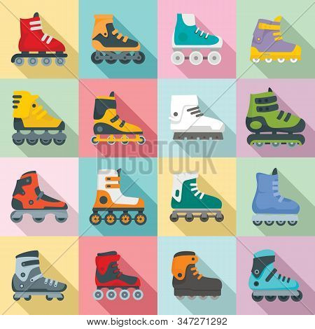Inline Skates Icons Set. Flat Set Of Inline Skates Vector Icons For Web Design