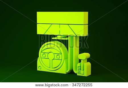 Yellow Racing Simulator Cockpit Icon Isolated On Green Background. Gaming Accessory. Gadget For Driv