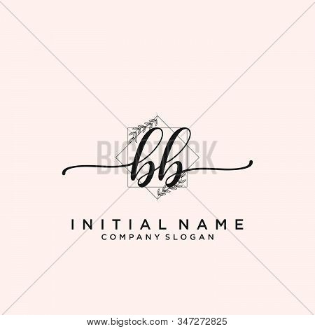 Bb Letter Initial Beauty Monogram And Elegant Logo Design, Handwriting Logo Of Initial Signature, We