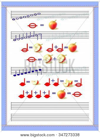 Educational Page For Little Children To Study The Duration Of Musical Notes. Developing Tracing, Cou