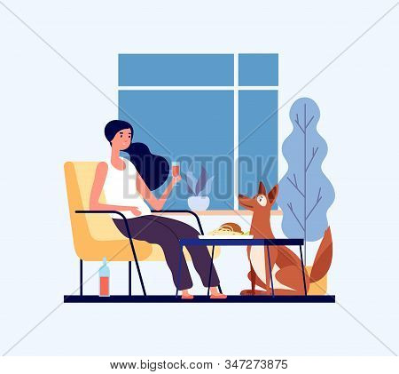 Home Dinner Concept. Girl With Her Dog In Living Room. Pet Lover Character. Hygge Home Vector Illust