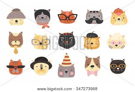 Cat Heads. Cute Cats Muzzles With Accessories, Glasses And Hats, Bow Tie And Cap. Happy Pets Vector