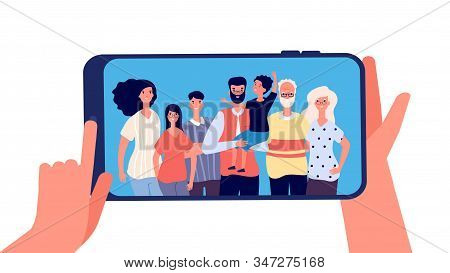 Phone With Family Photo. Hands Holding Smartphone With Happy Smiling Grands Mother Dad Kids Together
