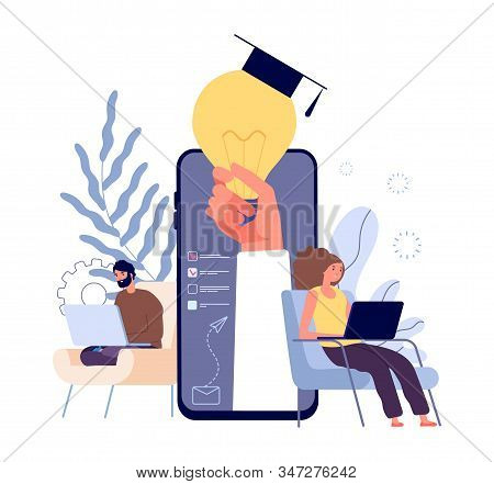 Online Education. Distance Learning Students, E Learning Concept. People Studying With Laptops And T