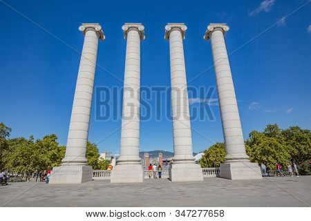 Barcelona, Spain - October, 2019: View Of Four Columns - Les Quatre Columnes - Ionic Columns Near Na