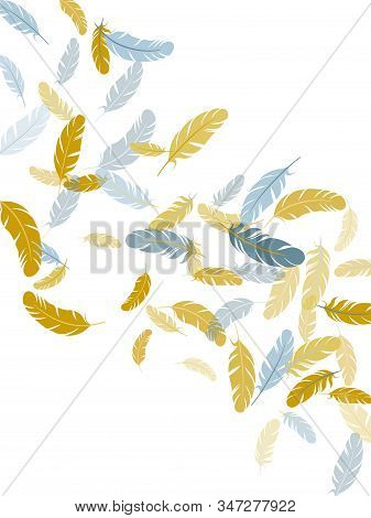 Boho Silver Gold Feathers Vector Background. Plumage Fluff Dreams Symbols. Smooth Plumelet Tribal Or